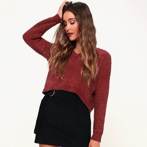Lulu's Red Chenille Crop Sweater - XS